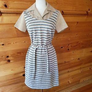 1970s Unlabeled Multi-Color Poly Knit Dress
